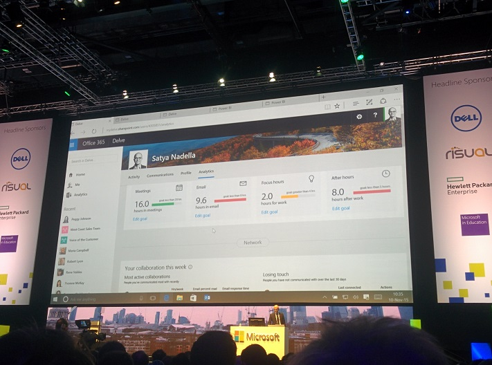 Productivity demo showing work habits using Delve