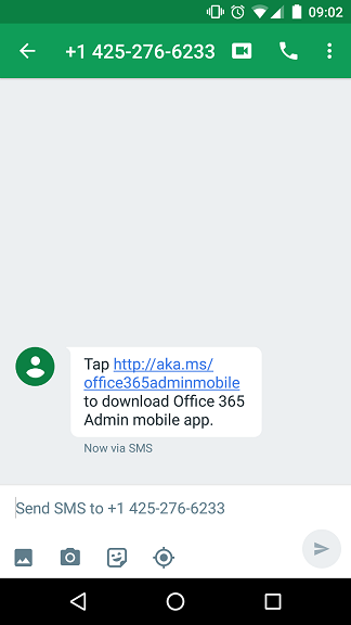 Office 365 Admin Mobile Text