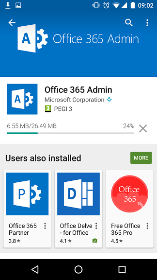 Office 365 Admin Mobile Install