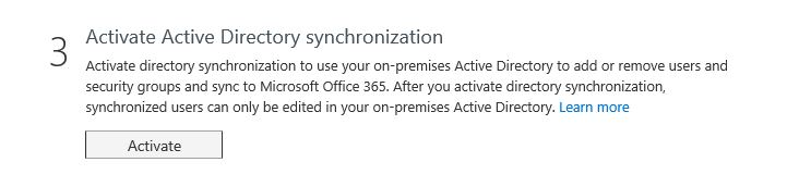 AD Connect enable directory synchronisation