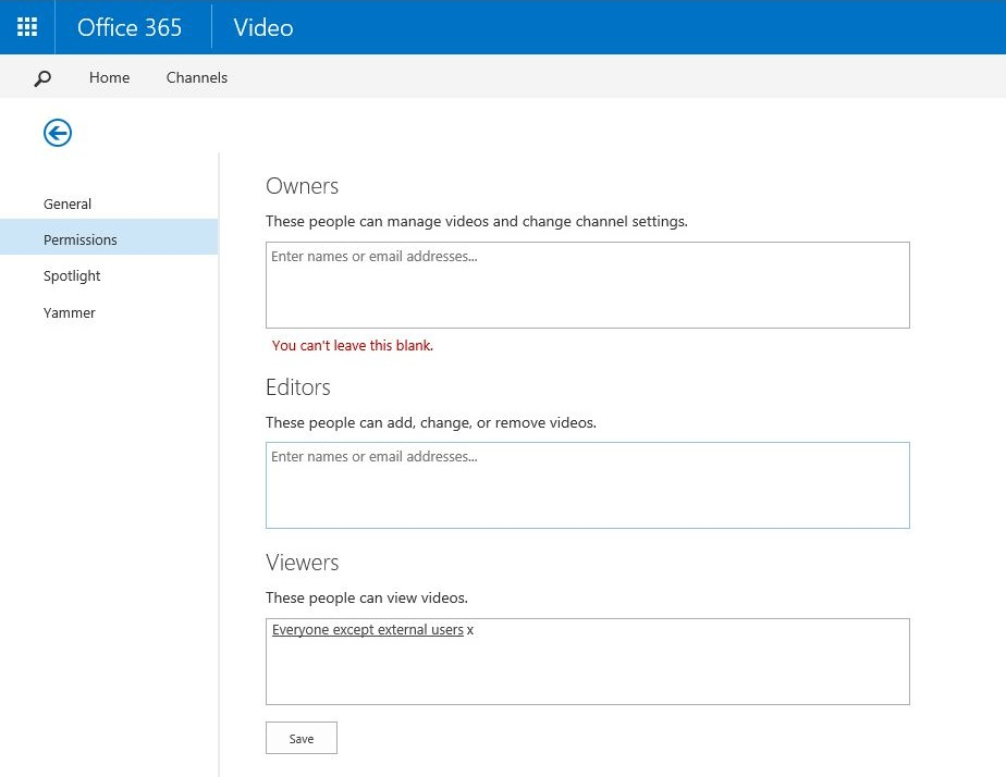Office 365 Video Permissions