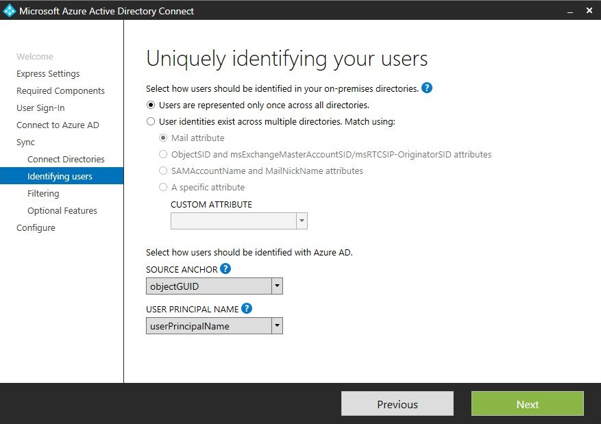 Office 365: Using AD Connect to sync only specified user