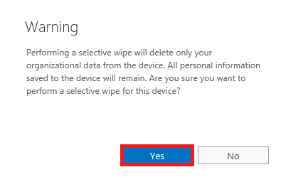 Office 365 Perform Selective Wipe 4