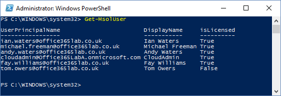 Office 365 PowerShell List User Accounts