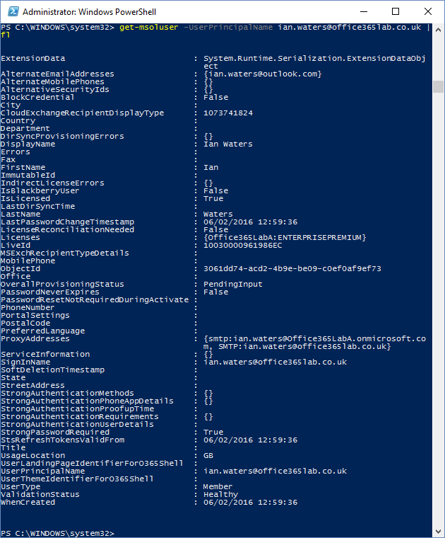 Office 365 PowerShell User Attributes