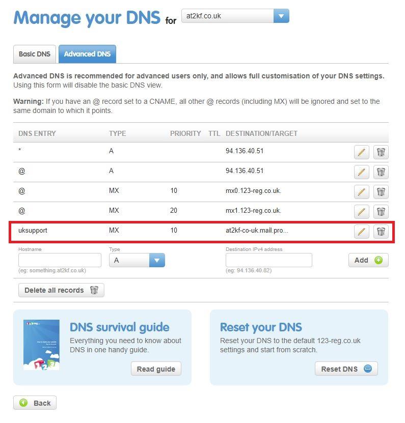 Setup Sub Domain Email on 123reg | SlashAdmin \ Life in IT
