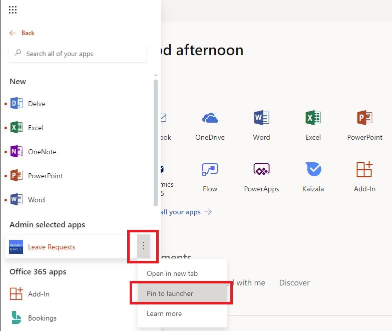 Office 365 Add Power Apps to All Users App Menu