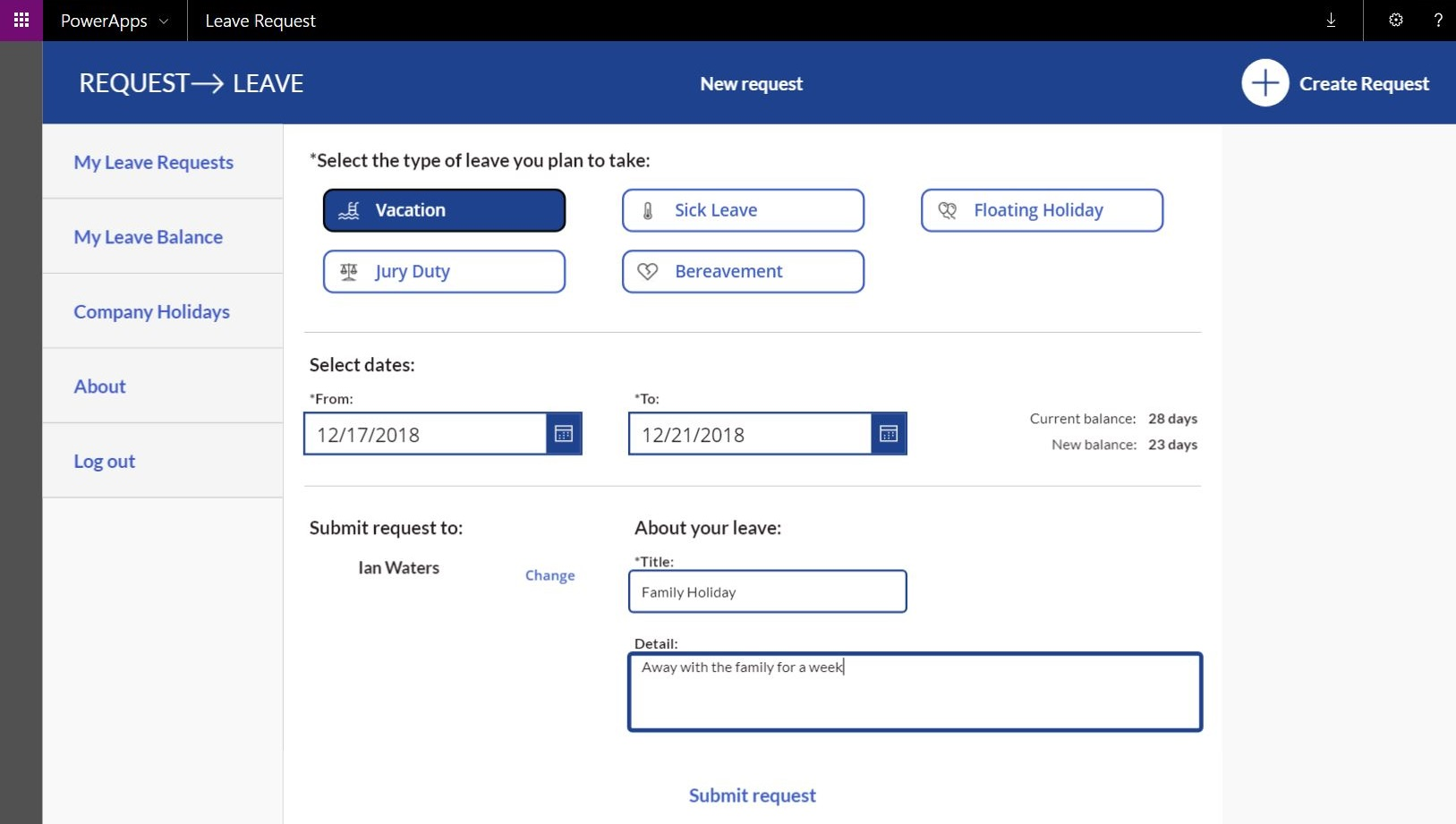 How To Setup an Office 365 Holiday and Time Off Request App