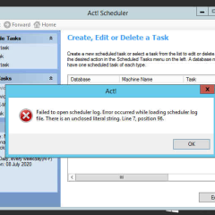 Act Failed to Open Scheduler log Error Occurred While Loading Scheduler log file